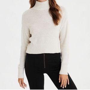 AE Mock Neck Boxy Cropped Sweater